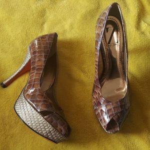 Sergio Zelcer red bottom platform heels 7